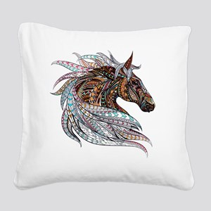 Warm colors horse drawing Square Canvas Pillow