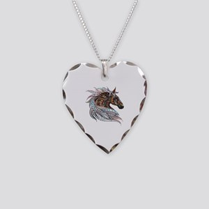 Warm colors horse drawing Necklace Heart Charm