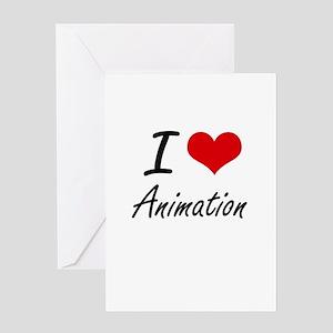 I Love Animation artistic Design Greeting Cards