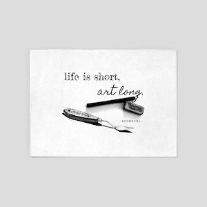 Life is Short, Art Long Pencil Sketch 5'x7'Area Ru