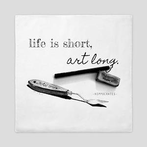 Life is Short, Art Long Pencil Sketch Queen Duvet