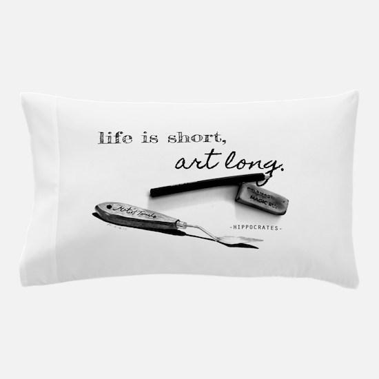 Life is Short, Art Long Pencil Sketch Pillow Case