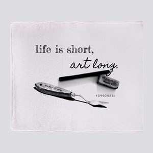 Life is Short, Art Long Pencil Sketch Throw Blanke