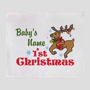 Personalize Babys 1st Christmas Throw Blanket