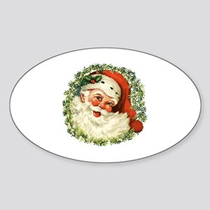Vintage Santa Sticker (Oval)
