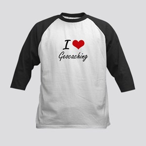 I Love Geocaching artistic Design Baseball Jersey