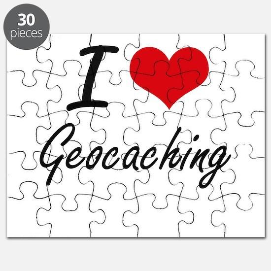 I Love Geocaching artistic Design Puzzle