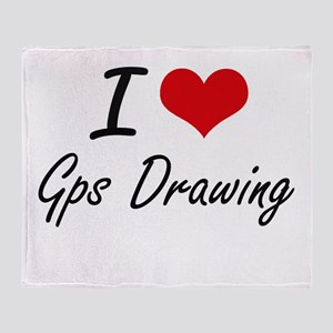 I Love Gps Drawing artistic Design Throw Blanket