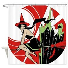 Halloween Witch Flying (vintage) Shower Curtain