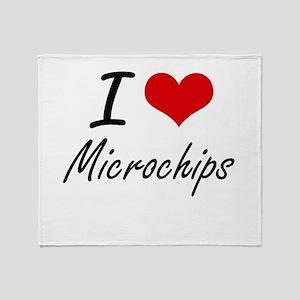 I Love Microchips artistic Design Throw Blanket