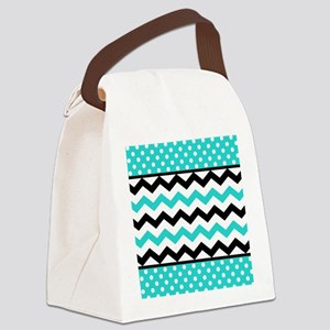 Aqua and Black Chevron Polka Dots Canvas Lunch Bag