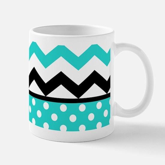 Aqua and Black Chevron Polka Dots Mugs