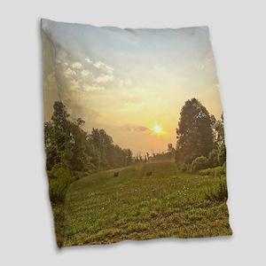 Good Morning Sunrise Burlap Throw Pillow