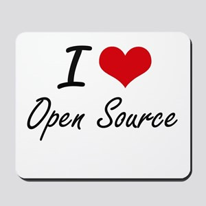 I Love Open Source artistic Design Mousepad