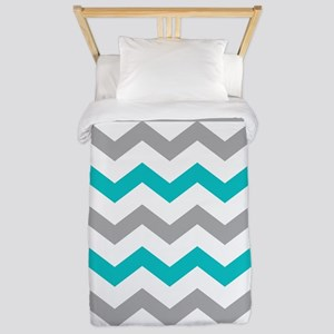 Teal and Gray Chevron Polka Dots Twin Duvet
