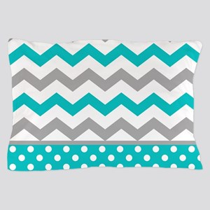 Teal and Gray Chevron Polka Dots Pillow Case