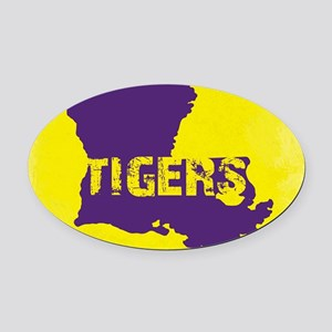 Louisiana Rustic Tigers Oval Car Magnet