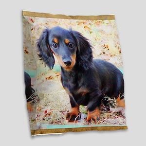 Puppy Love Doxie Burlap Throw Pillow
