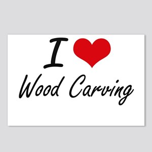 I Love Wood Carving artis Postcards (Package of 8)