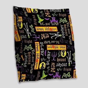 Happy Halloween III Burlap Throw Pillow