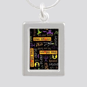 Happy Halloween III Silver Portrait Necklace