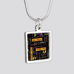 Happy Halloween III Silver Square Necklace