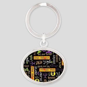 Happy Halloween III Oval Keychain