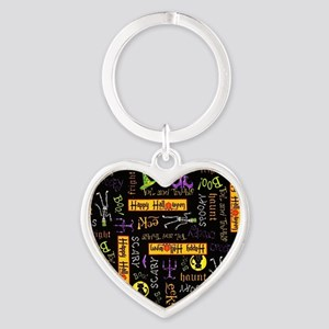 Happy Halloween III Heart Keychain