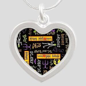 Happy Halloween III Silver Heart Necklace