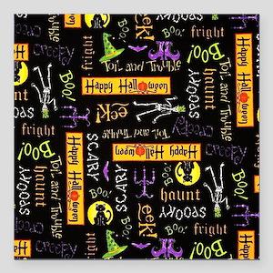 "Happy Halloween III Square Car Magnet 3"" x 3"""