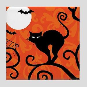 Halloween Cat Tile Coaster