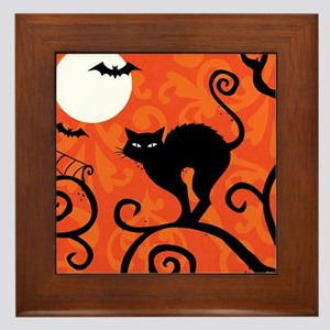 Halloween Cat Framed Tile