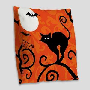 Halloween Cat Burlap Throw Pillow