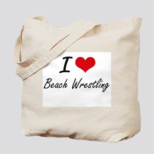 I Love Beach Wrestling artistic Design Tote Bag