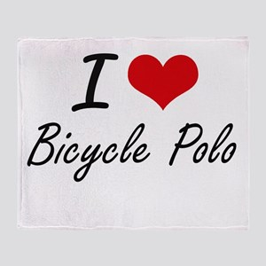 I Love Bicycle Polo artistic Design Throw Blanket