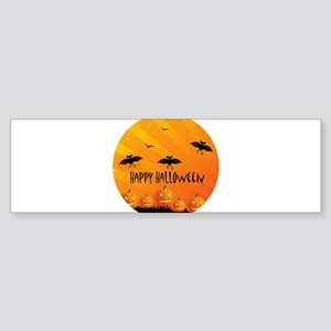 Sunset Bats and Pumpkins Bumper Sticker