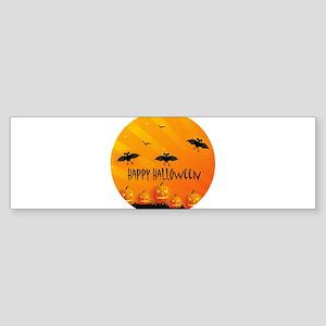 Sunset Bats and Pumpkins Bumper Sticker