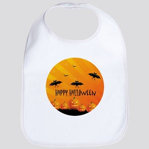 Sunset Bats and Pumpkins Bib