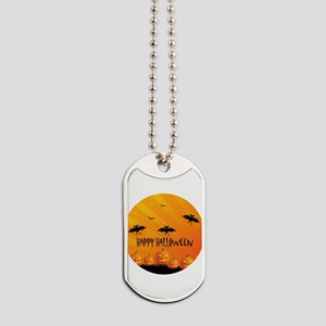 Sunset Bats and Pumpkins Dog Tags