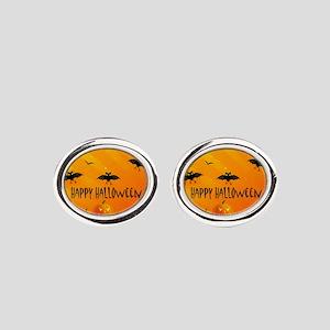 Sunset Bats and Pumpkins Oval Cufflinks