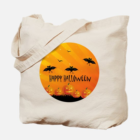 Sunset Bats and Pumpkins Tote Bag