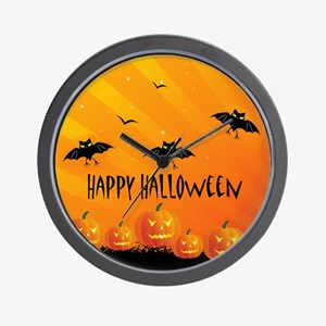 Sunset Bats and Pumpkins Wall Clock