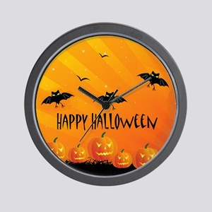 Sunset Bats and Pumpkins Wall Clock