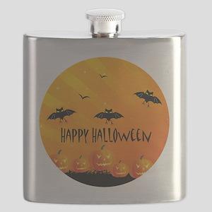 Sunset Bats and Pumpkins Flask