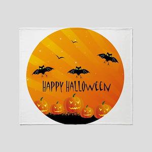 Sunset Bats and Pumpkins Throw Blanket