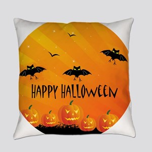 Sunset Bats and Pumpkins Everyday Pillow