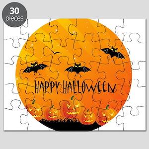 Sunset Bats and Pumpkins Puzzle