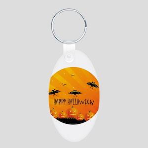 Sunset Bats and Pumpkins Keychains