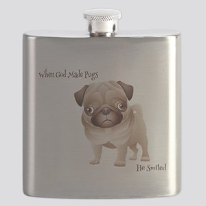 When God Made Pugs Flask