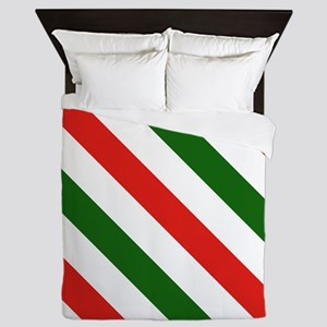 Candy Cane Stripes Holiday Pattern Queen Duvet